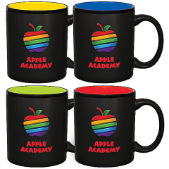 four 11oz black mugs with different coloured interiors and full colour logos on each
