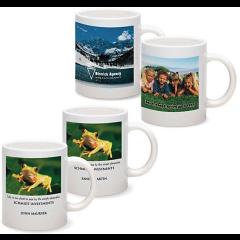 four white ceramic mugs each show a digital print