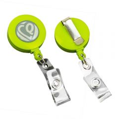 The front and reverse image of a lime green badge puller with a white and grey logo on the top