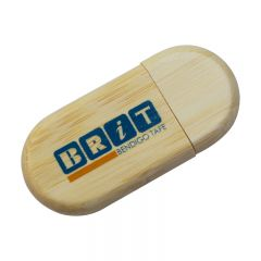 oval shaped wooden USB with blue and orange print
