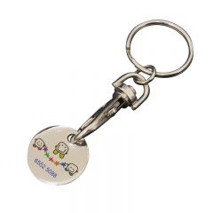 full colour quarter shaped epoxy dome shopping cart token with trigger clip and split ring
