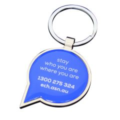 speech bubble shaped epoxy dome keyring with blue and white screen print