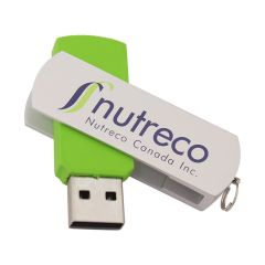 white and green USB swivel drive with full colour print