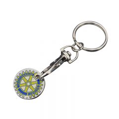 quarter shaped yellow and blue screen printed epoxy dome shopping cart token with trigger clip and a split ring