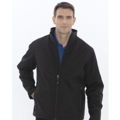 A black insulated soft shell jacket with a full zip being worn by a man with short hair and one hand in his pocket