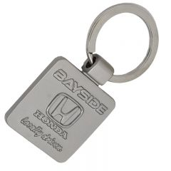 square shaped custom metal keyring with embossed logo and no keychain