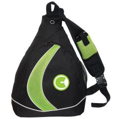 black with lime green mesh sling knapsack with green and white logo