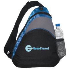 black and royal blue with grey accent sling knapsack and blue logo