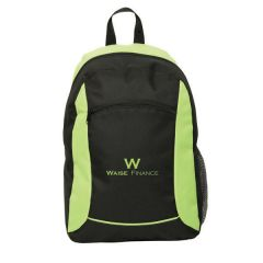 lime green and black backpack with lime green logo