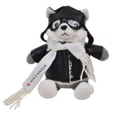 "The front view of a 6"" husky plush in a pilots outfit with a custom branded logo on their scarf"