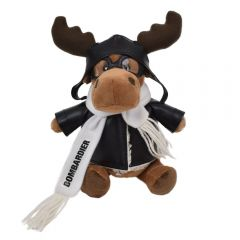 "The front view of a 6"" plush moose in a pilots outfit with a black logo on their scarf"