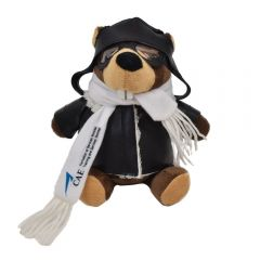 "The front view of a 6"" plush beaver wearing a pilots outfit with a blue and black logo on their scarf"