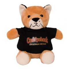 "The front view of a 6"" cougar plush wearing a black T-shirt with a full colour logo on it"