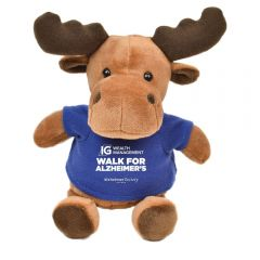 "The front view of a 6"" moose plush wearing a blue T-shirt with a white logo on it"