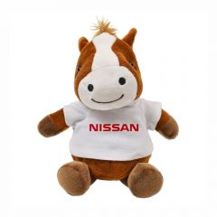 "The front view of a 6"" plush horse wearing a white T-shirt with a red logo on it"