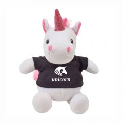 "The front view of a 6"" plush unicorn wearing a black T-shirt with a white logo on it"
