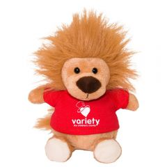 "The front view of a 6"" plush lion wearing a red T-shirt with a white logo on it"