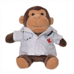 "The front view of a 6"" monkey plush wearing a doctors coat"