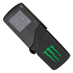 black USB half solid black half transparent black with green printed logo