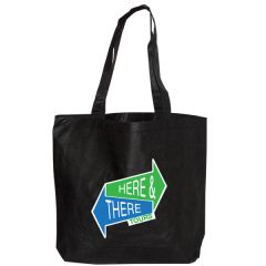 black non woven tote with full colour logo
