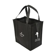black non woven tote with white logo