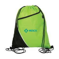 lime green and black drawstring bag with blue logo