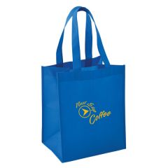 royal blue mid-size non woven tote with a yellow logo