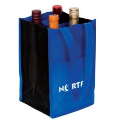 An angled view of a royal blue and black non woven wine bag with four bottles inside and a white logo