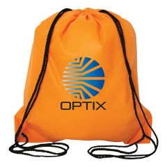 An orange non woven drawstring backpack with a full colour logo