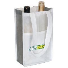 An angled view of a white and grey non woven two bottle wine bag with two bottles inside and a full colour logo