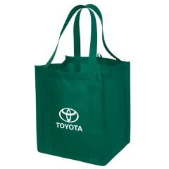forest green non woven tote with white logo