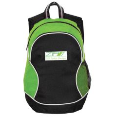 lime green and black backpack with white and green logo