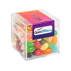 An angled view of a clear box filled with gourmet jelly beans. The box has a full colour label that is placed across the top and a small piece of the front