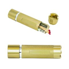 Two gold coloured stashlights one at the front that's horizontal and closed and one behind at an angle, unscrewed with the cap beside it and inside the body there are matches and money
