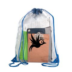 clear drawstring bag filled with supplies with blue drawstrings and a black logo