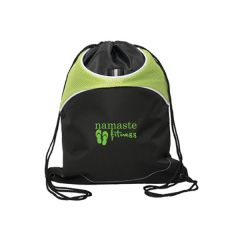 lime green and black drawstring bag with green logo
