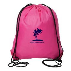 pink drawstring bad with black drawstrings and dark blue logo
