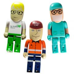 3 different people figures that are USB drives
