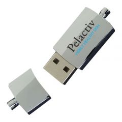 metal micro USB with black and blue print in open position