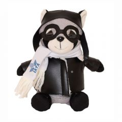 "The front view of a 6"" raccoon plush in a pilots outfit with a blue logo on their scarf"