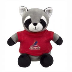 "The front view of a 6"" raccoon plush wearing a red T-shirt with a full colour logo on it"