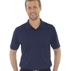 A navy snag resistant sport shirt being worn by a short haired man