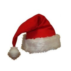 A blank Santa hat made from red felt and white plush material