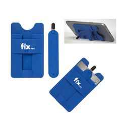 three images of royal blue with white logo smart phone wallet one showing example of use and with a royal blue stylus beside it