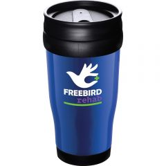 A blue 16oz tumbler with black accents and a full colour logo