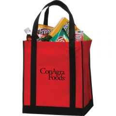 A red grocery tote with a black base, black handles and a black logo and filled with groceries