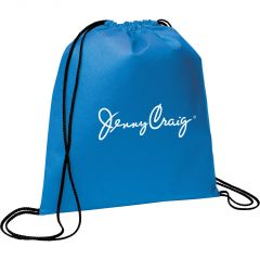 blue drawstring backpack with white logo