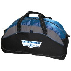 royal blue and black with grey accents 24 inch extra large sports bag with white and blue logo