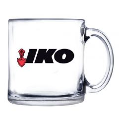 12oz glass mug with red and black logo