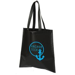 black square laminated and heat sealed tote bag with a blue logo